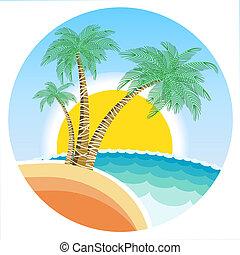 exótico, isla tropical, con, palmas, y, sol, en, redondo,...