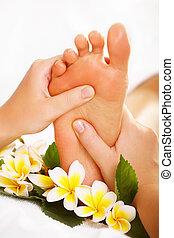 exótico, masaje del pie