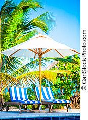 exótico, paraguas, sillas, tropical, recurso, playa