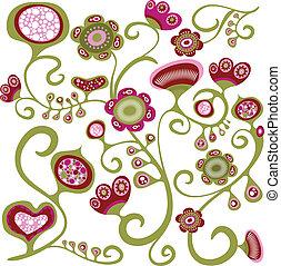 exótico, patrón floral