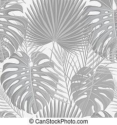 exótico, patrón, hojas, grayscale, seamless, tropical, palma