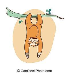 exótico, perezoso, lindo, árbol., pegajoso, hanging., style...