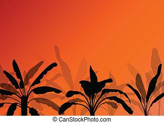 exótico, plantas, detallado, silueta, árbol, ilustración, ...
