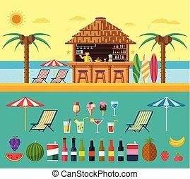 exótico, playa, conjunto, barra, verano, claro, water.,...
