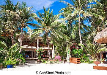 exótico, poco, cómodo, hotel, tropical, recurso, playa...