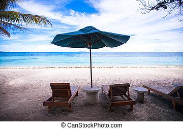 exótico, recurso, loungers, playa, paraguas