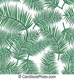 exótico, tela, uso, telón de fondo., patrón, hojas, aislado, ilustración, seamless, tropical, fondo., vector, palma, retro, moderno, planta, blanco, impresión, caricatura, interminable