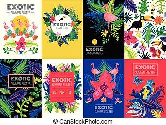 exótico, tropical, banderas, colorido, colección