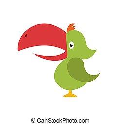 exótico, verano, estilo, sentado, vacaciones, ilustración, pájaro, tropical, brillante, vector, publicidad, paraíso, branch., toucan., caricatura, design.