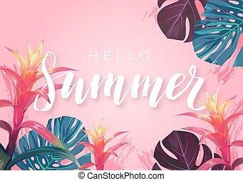 exótico, verano, hibisco, hojas, tropical, aviador, diseño, palma, flores, bandera, o, handlettering.