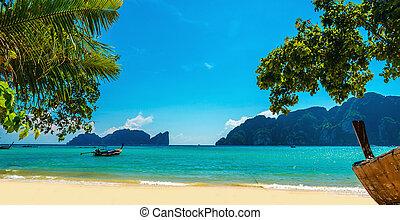 exótico, viejo, barco, tailandia, playa, phuket