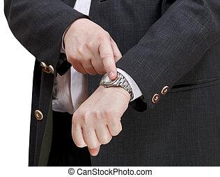 exact, homme affaires, temps, montre-bracelet, exposition