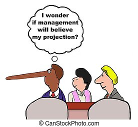 Exaggerated Projections - Business cartoon of manager with...