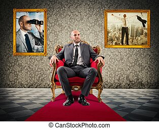 Exaltation of success - Successful businessman sitting on a...