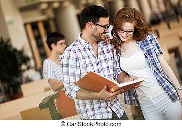 exam., estudar, mulher, homem jovem