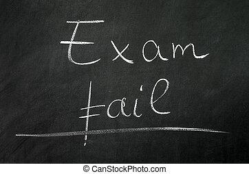 Exam fail writed on blackboard with chalk