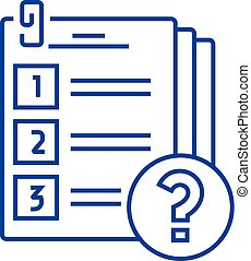 Exam line concept icon. Exam flat vector website sign, outline symbol, illustration.