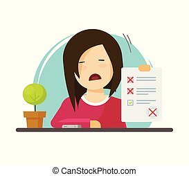 Exam paper form with failed assessment vector illustration, unhappy character pupil and incorrect answers survey, bad mark test results, unsuccessful study report, flat cartoon education list