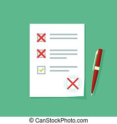 Exam paper form with failed assessment vector, incorrect answers survey