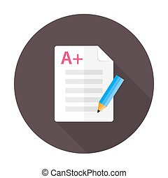 Vector illustration of exam test. Flat circular icon with long shadow.