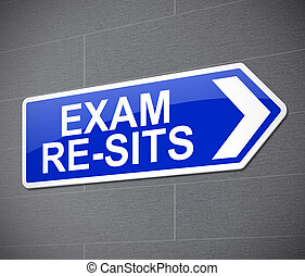 Exam re-sit concept. - Illustration depicting a sign with an...