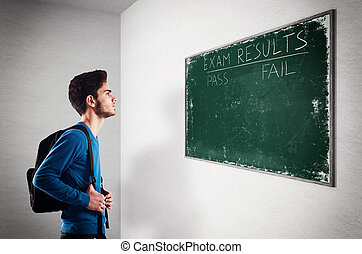 Exam results - Teenager student looks at the exam results