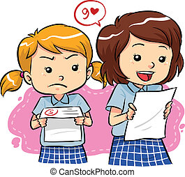 Young girls receive their exam results with different expressions. Vector EPS8 file.