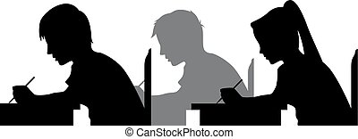Illustration Featuring the Silhouettes of Students Taking an Exam
