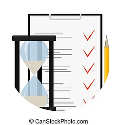 Exam test questionnaire icon. Choice check mark quiz, vector...