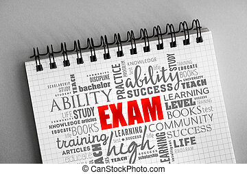 EXAM word cloud collage, education concept background