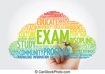 EXAM word cloud collage with marker, education concept ...