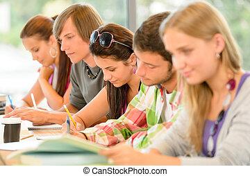exame, alto-escola, estudantes, estudo, escrita, adolescentes