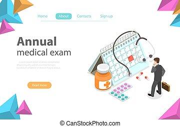 exame, apartamento, isometric, conceito, médico, regual, vetorial