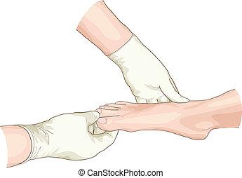 exame, de, a, foot.