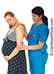 exame, doutor mulher, grávida