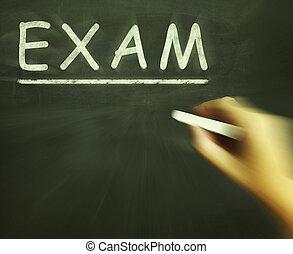 exame, giz, mostra, avaliação, teste, e, grau