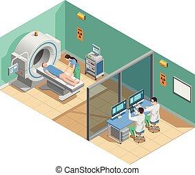 exame, médico, composição, isometric