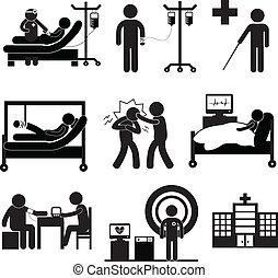 exame, médico, em, hospitalar