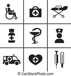 exame médico saúde, cuidado, ícones, jogo