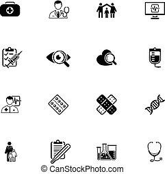 exame médico saúde, cuidado, ícones, set., apartamento, design.