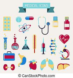 exame médico saúde, cuidado, ícones, set.