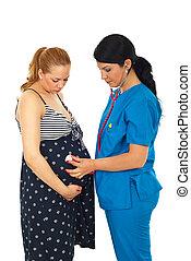 exame, mulher, barriga, doutor, grávida