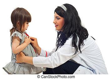 exame, pequeno, menina mulher, doutor
