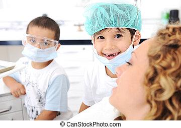 exame, série, relatado, fotografias, dentista, dentes, criança