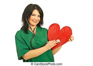 exame, saúde coração, trabalhador, feliz