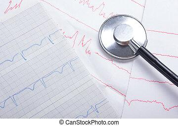 examen, closeup, trace pouls, stéthoscope, cardiogramme, cardio-vasculaire, concept médical