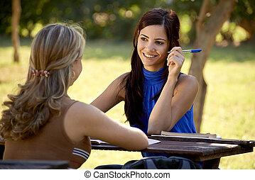 examen, conversation, jeune, université, étudiants, étudier, collège