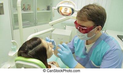 examen, dentiste, patient