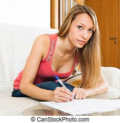 examen, dokument, förberedande, kvinna, räcker
