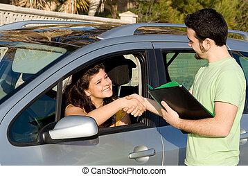 examen, drivande, hyr, bil., passerat, färsk, eller, uppköp